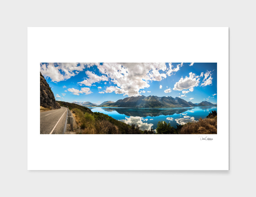 Spectacular Lookout at Lake Wakatipu at golden hour