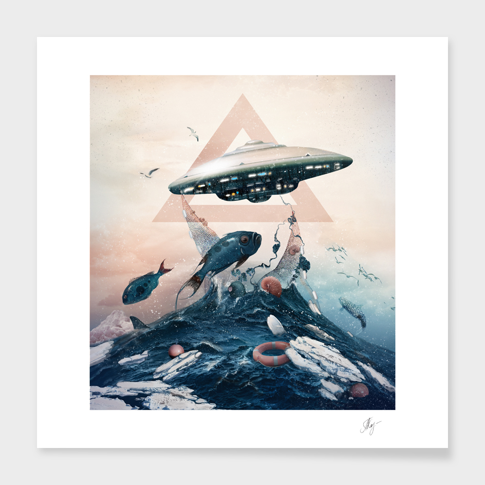 UFO / fishing main illustration