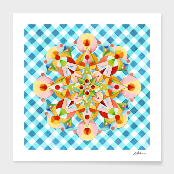 Blue Gingham Pastel Mandala main illustration