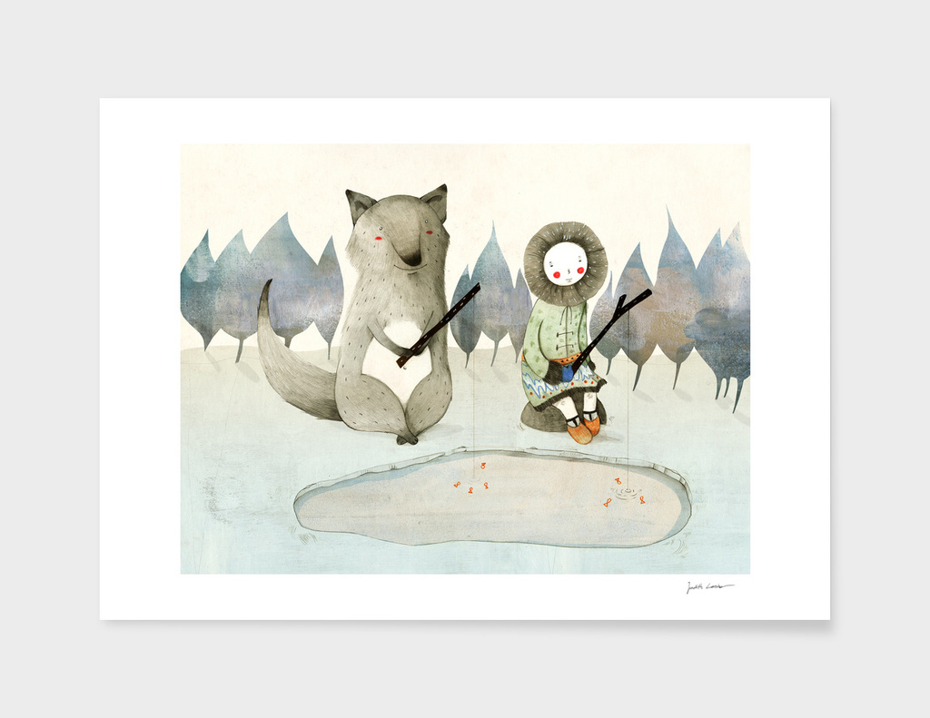 The Little Inuit Girl And The Wolf main illustration