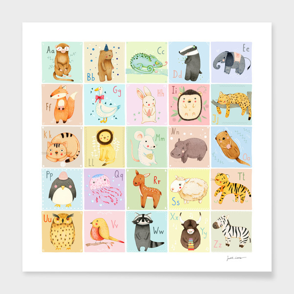 German Animal Alphabet main illustration
