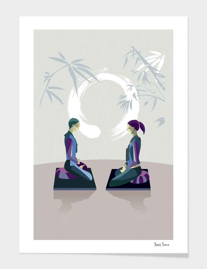 Man and Woman Meditating with Enso main illustration