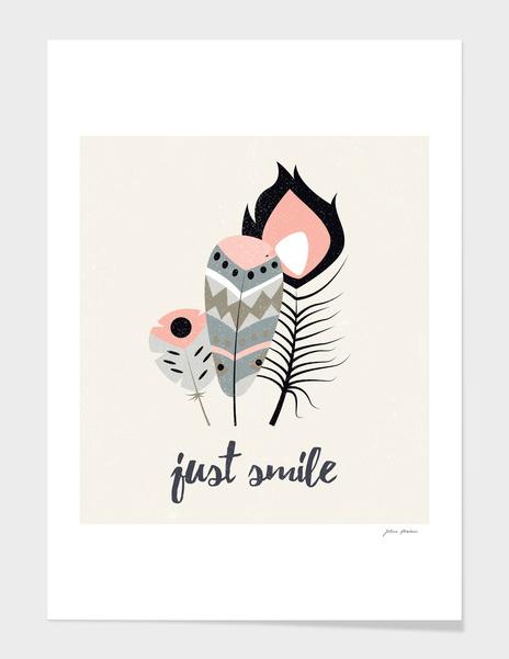 Just smile tribal feathers main illustration