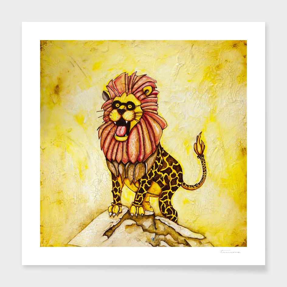 A Lion with Giraffe costume main illustration