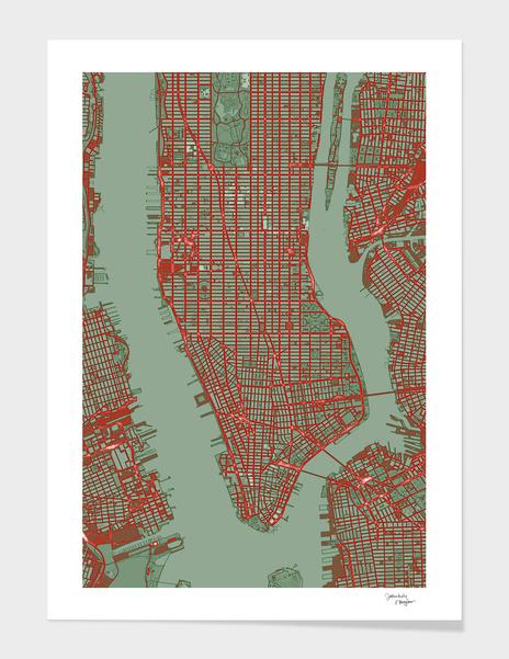 New York city map pop main illustration