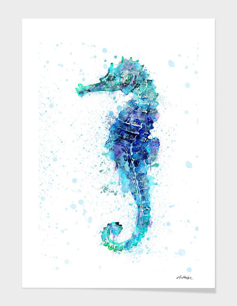 Watercolor Seahorse main illustration