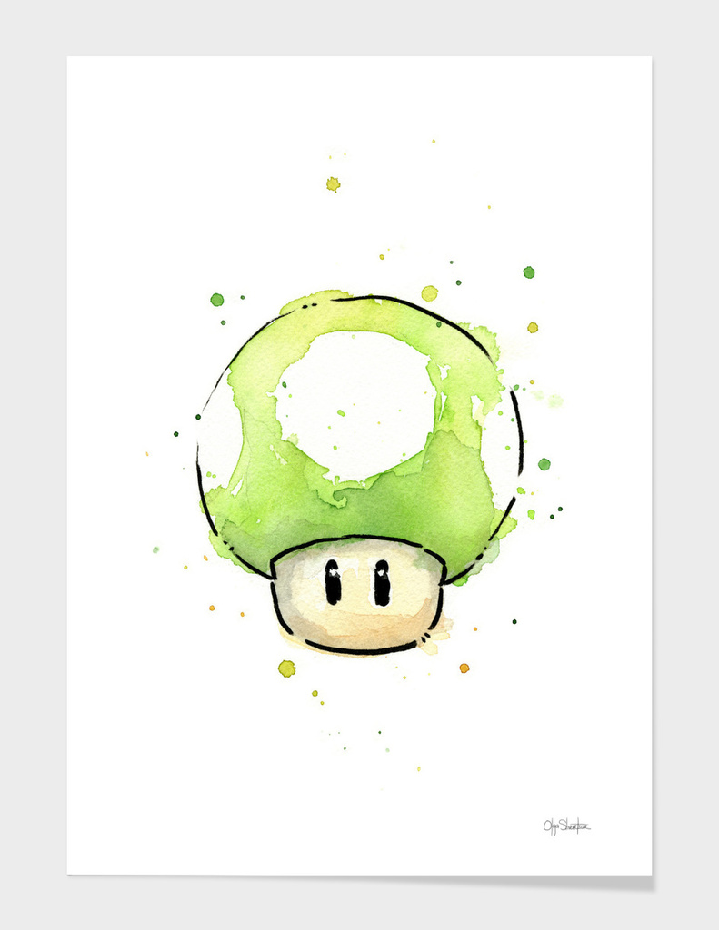 1UP Mushroom Watercolor main illustration