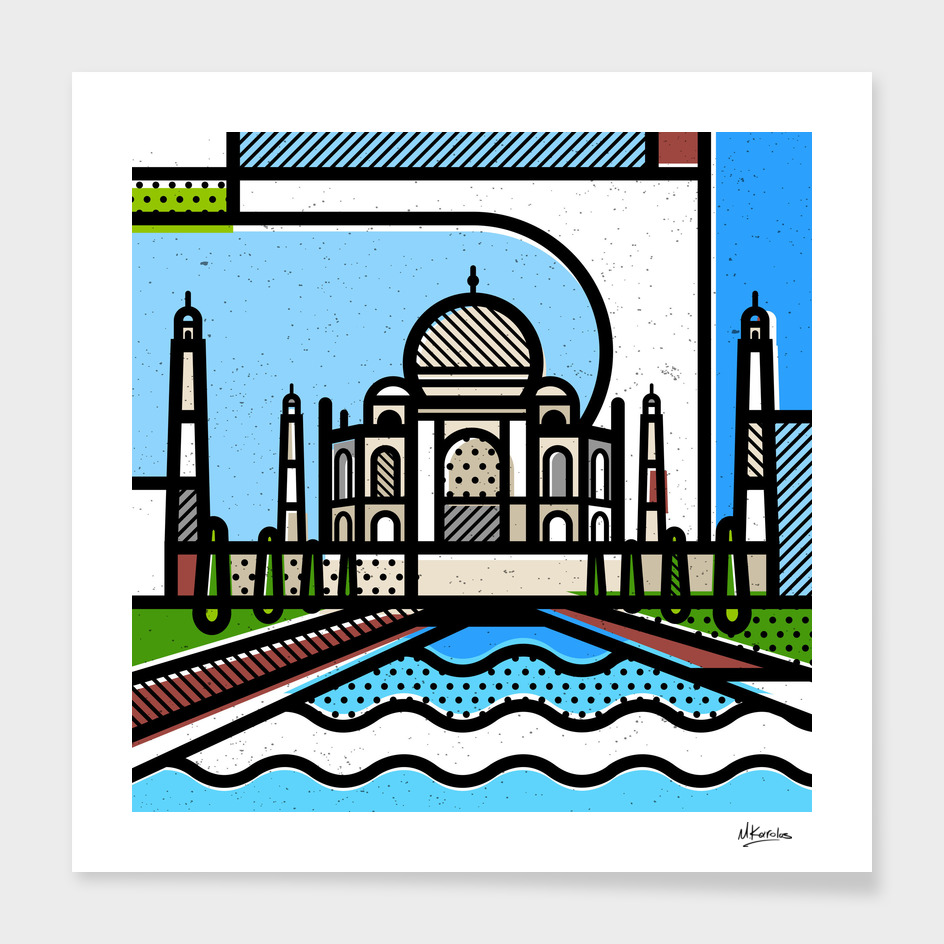 India: Taj Mahal main illustration