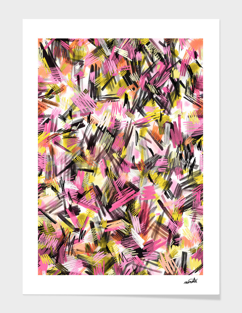 Wild strokes pattern - Pink and yellow main illustration