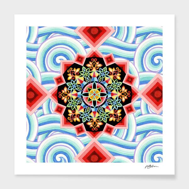 Chinoiserie Waves Mandala main illustration