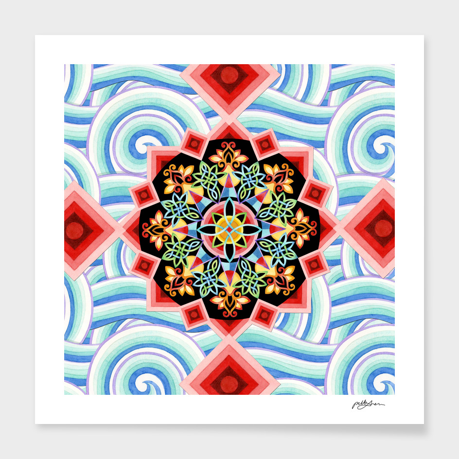 Chinoiserie Waves Mandala main illustration