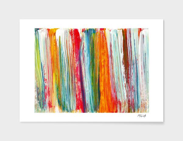 Acrylic abstract rainbow. Multicolor brushstrokes main illustration