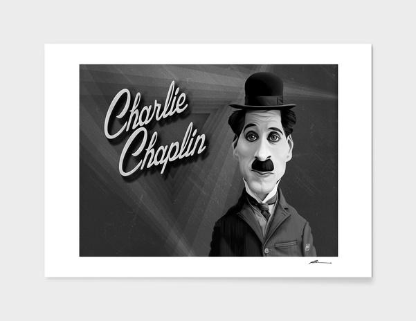 Charlie Chaplin - vintage movie card main illustration