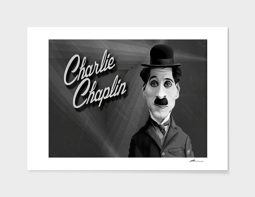 Charlie Chaplin - vintage movie card main illustration