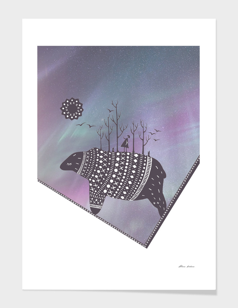 Northern bear with lavender polar lights main illustration