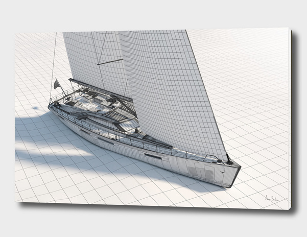 Wireframe Sailboat main illustration