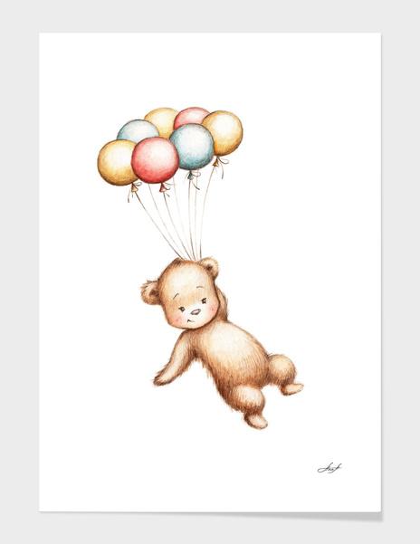 Teddy Bear with Balloons main illustration