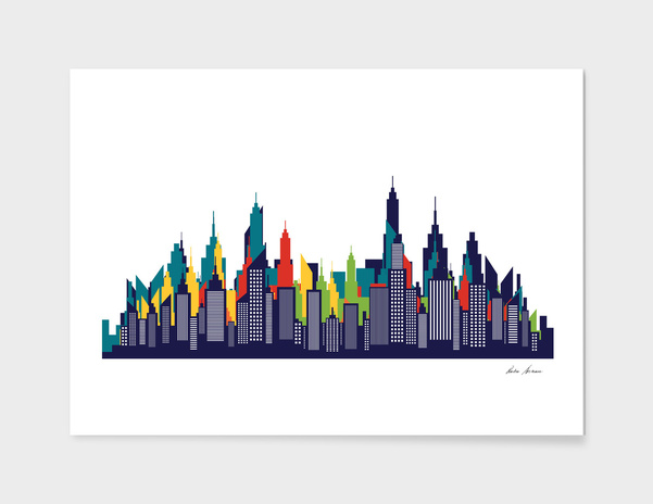 Modern American City Skyline Silhouette main illustration