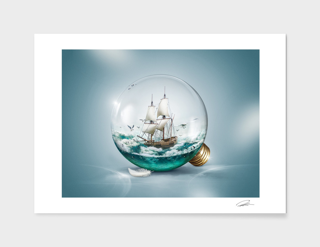 Sailer in a light bulb main illustration