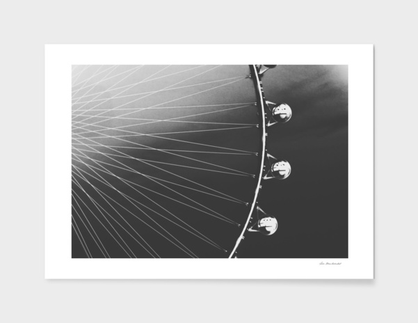 Ferris Wheel with sunset sky background in black and white main illustration