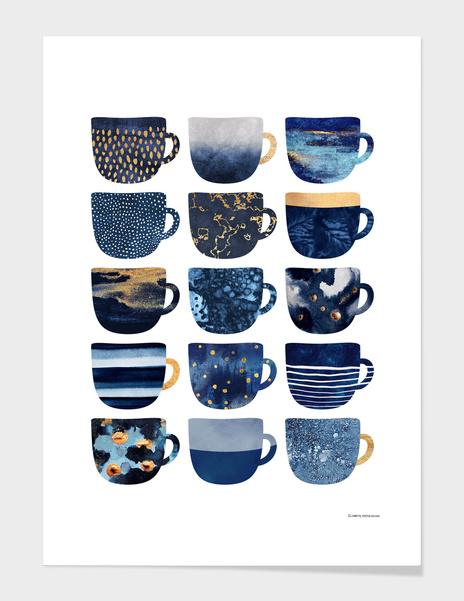 Pretty Blue Coffee Cups main illustration