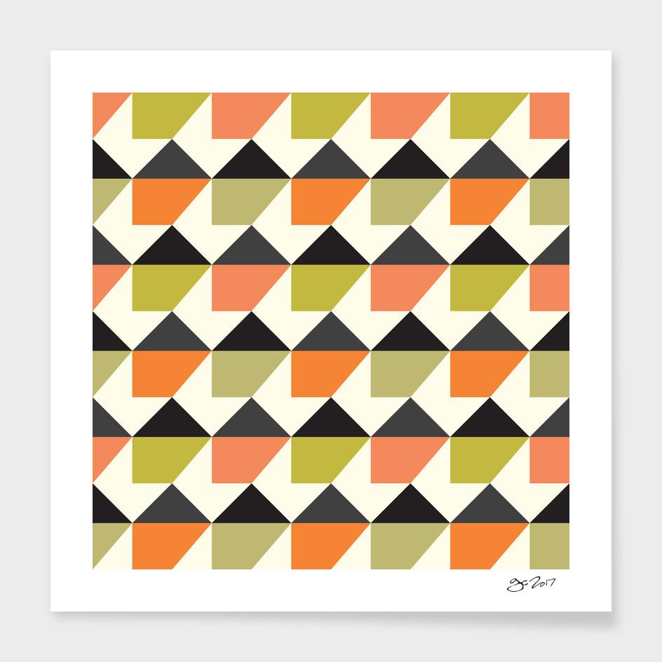 Orange & lime geometric pattern main illustration