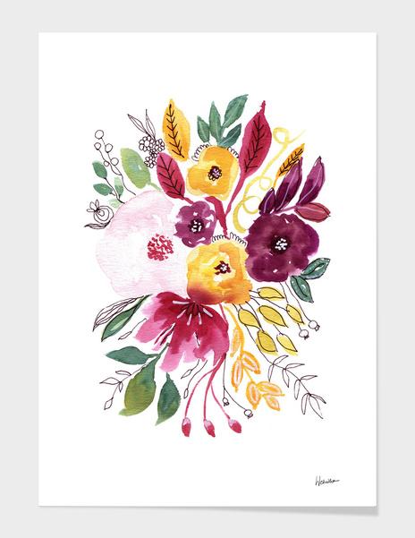 Watercolor Flowers 4 main illustration