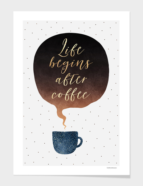 Life begins after coffee main illustration