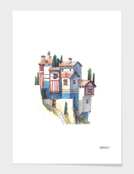 Blue house main illustration