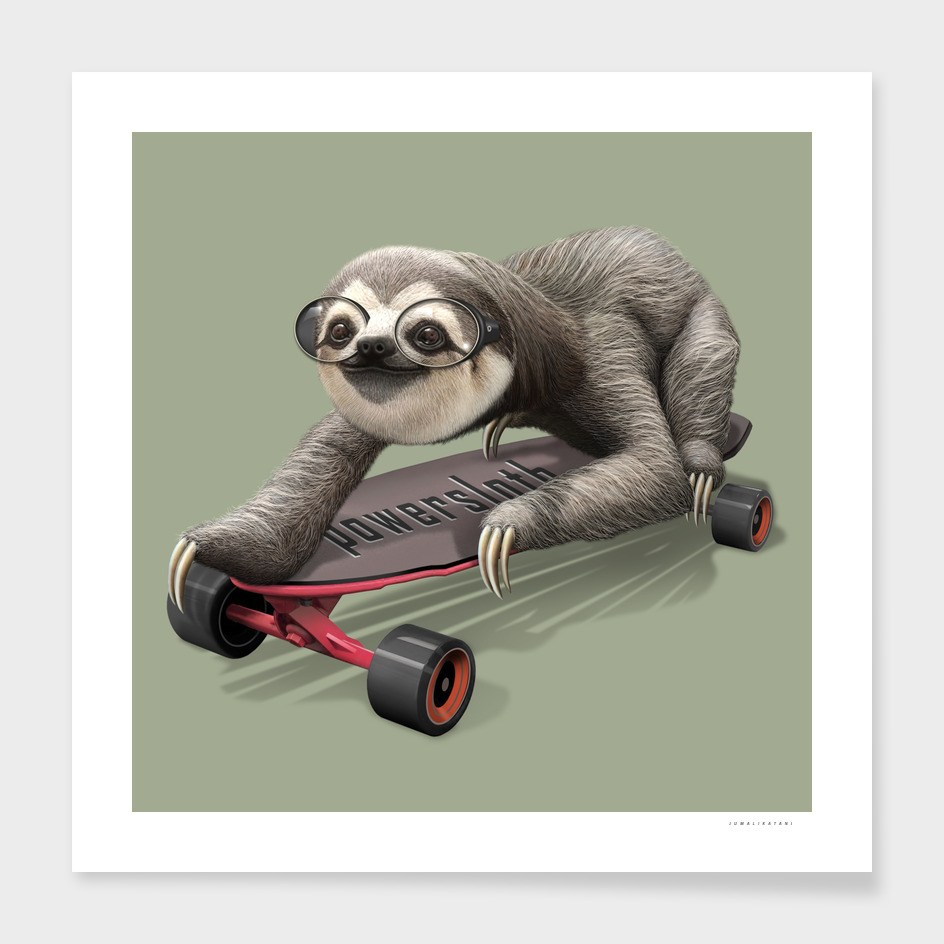 SLOTH ON SKATEBOARD main illustration