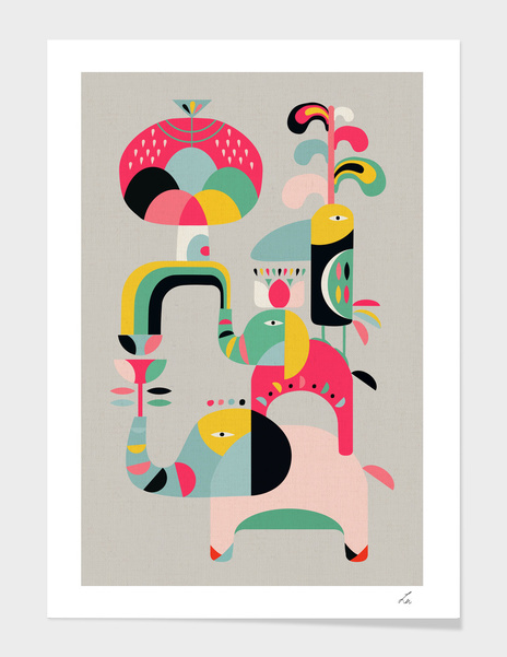 Jungle of elephant main illustration