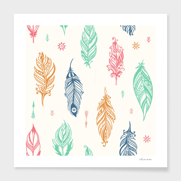 Boho feathers pattern main illustration