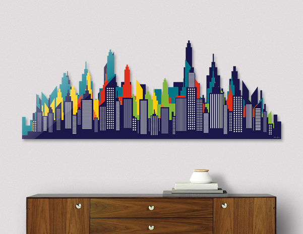 Modern American City Skyline Silhouette main illustration