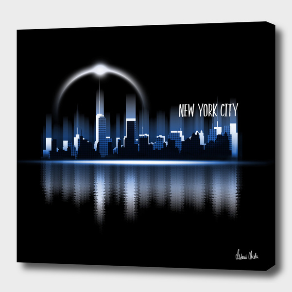 Graphic Art   A Dream of New York City in blue main illustration