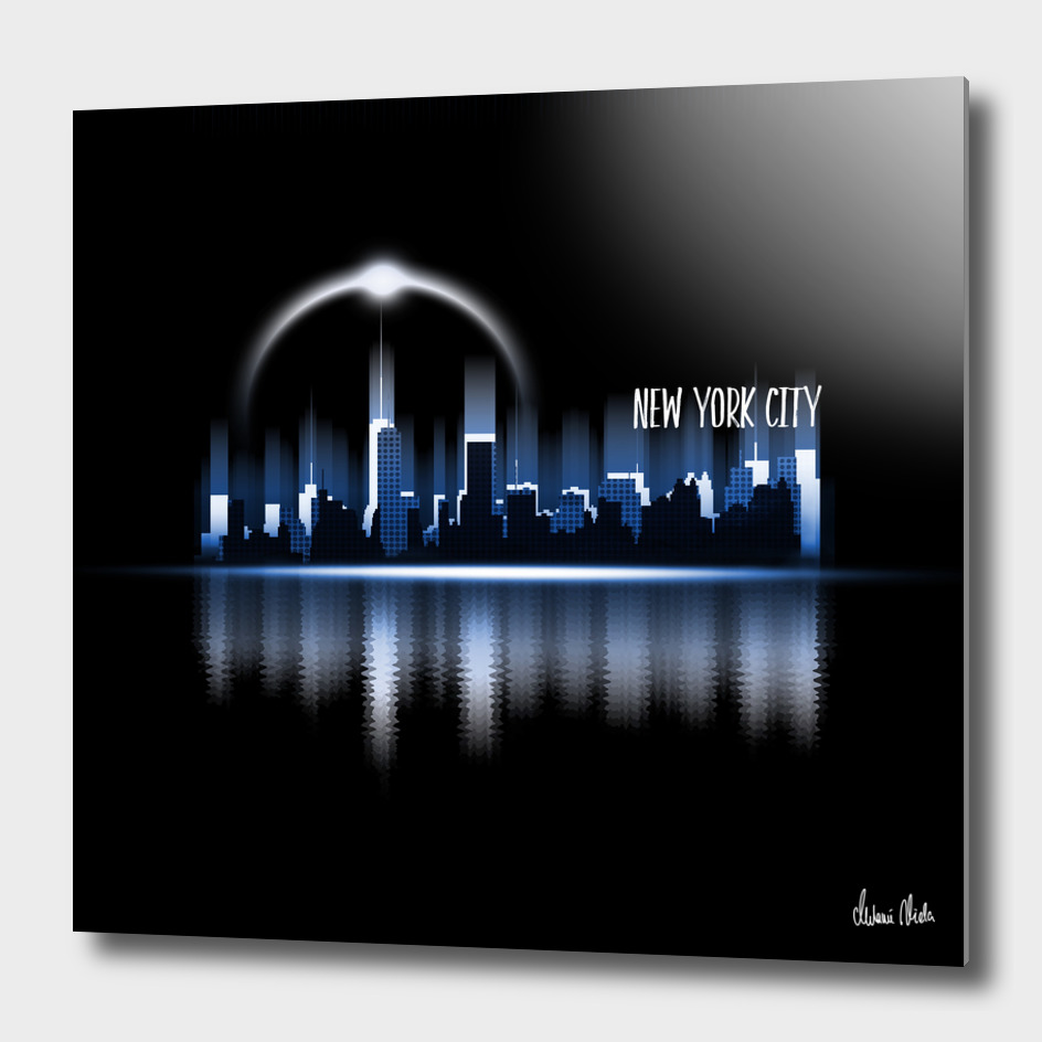 Graphic Art   A Dream of New York City in blue