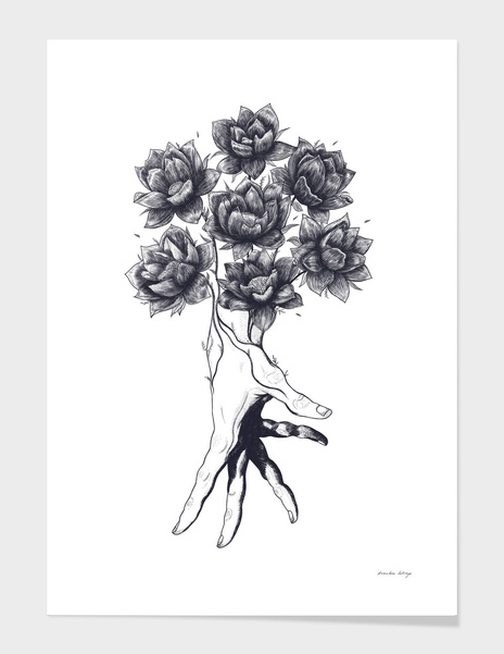 Hand with lotuses main illustration