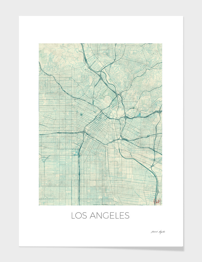 Los Angeles Map Blue main illustration