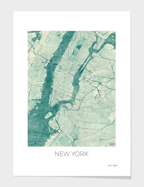 New York Map Blue main illustration