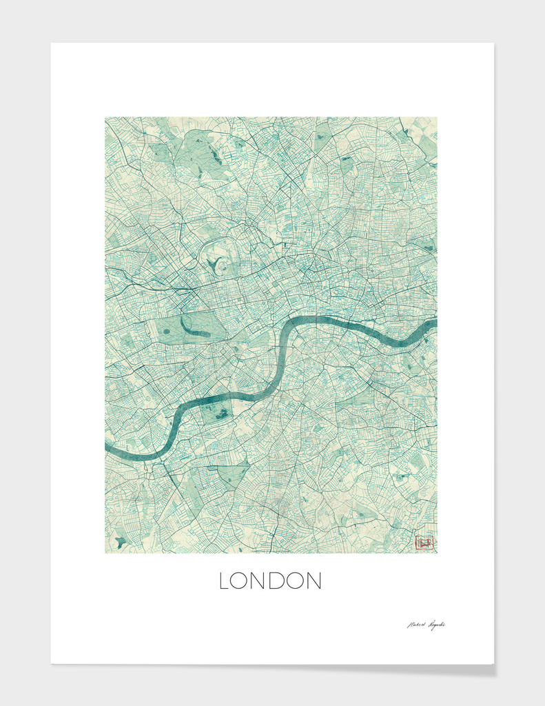 London Map Blue main illustration