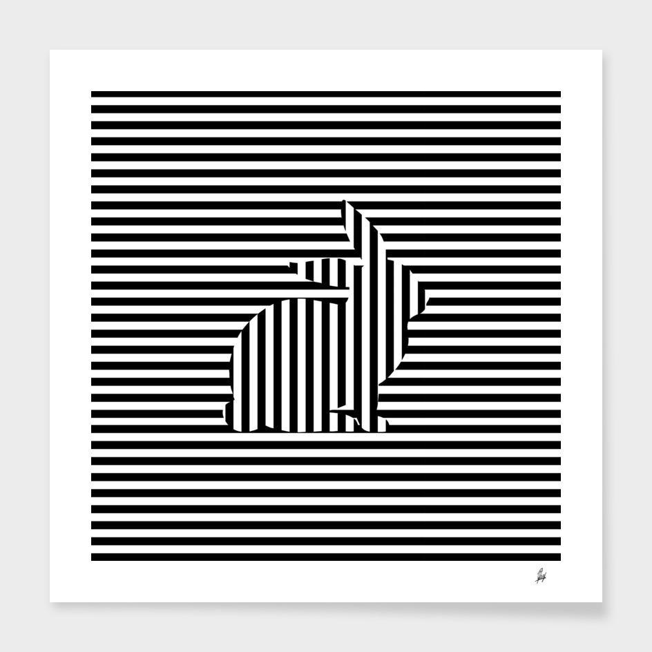 Rabbit on Stripes main illustration