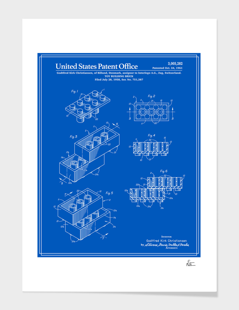 Toy Building Brick Patent - Blueprint main illustration