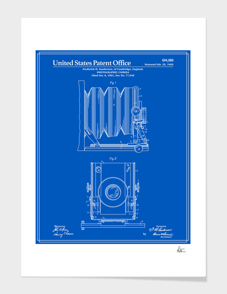 Camera Patent 1902 - Blueprint main illustration