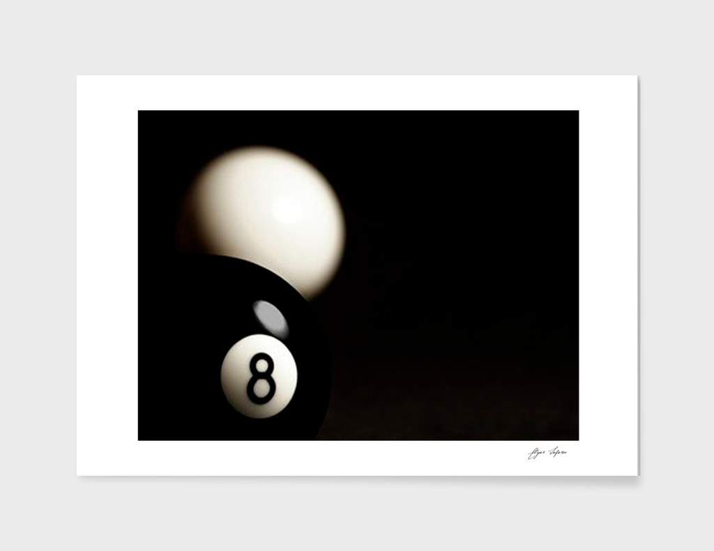 Ball realistic 8 and white main illustration
