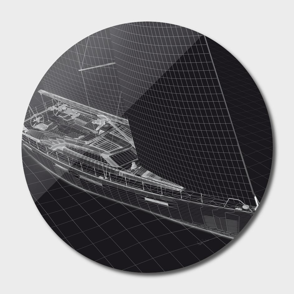 Wireframe Sailboat BW main illustration