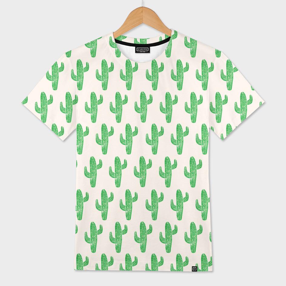 Linocut Cacti Green
