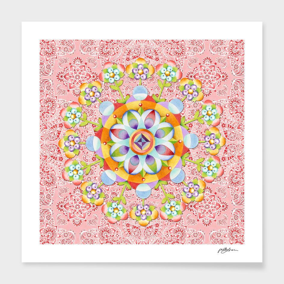 Pink Paisley Flower Mandala