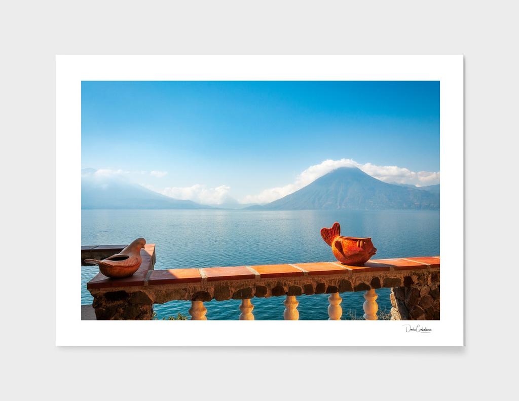 Terrace overlooking lake Atitlan in Guatemala