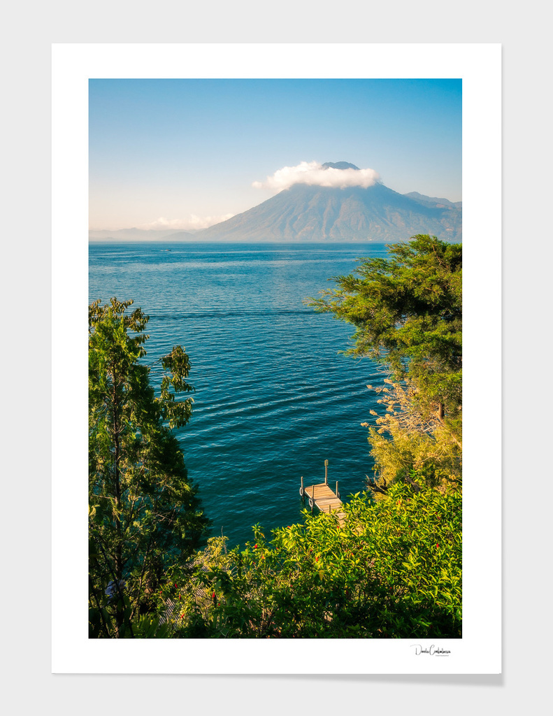 Volcano San Pedro with a crown of clouds in Guatemala