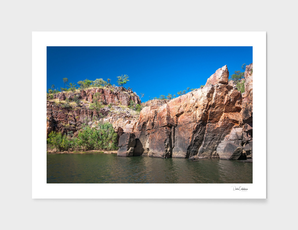 Rocky cliff face at the Katherine River Gorge, NT, Australia