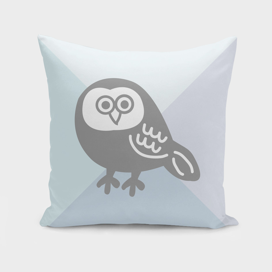 Wise Grey Owl Pillow
